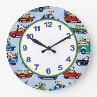 Dogs In Cars Boys Clock with Numbers