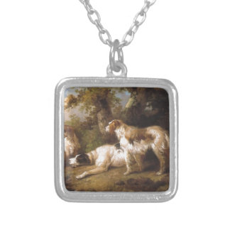Dogs In Landscape - Setters & Pointer by George Mo Square Pendant Necklace