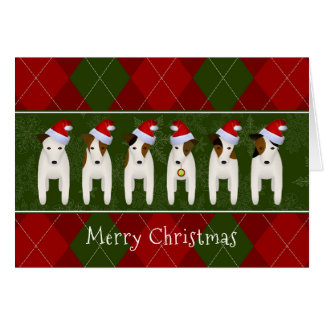 dogs in Santa hats Jack Russell Terrier Christmas Card