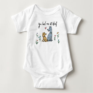 Dogs in the Garden III   You Had Me At Woof Baby Bodysuit