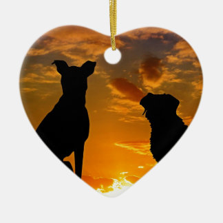 Dogs in the Sunset Ceramic Ornament