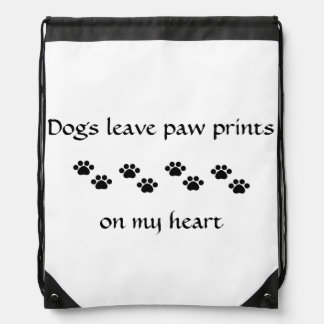 Dogs Leave Paw Prints Drawstring Bag