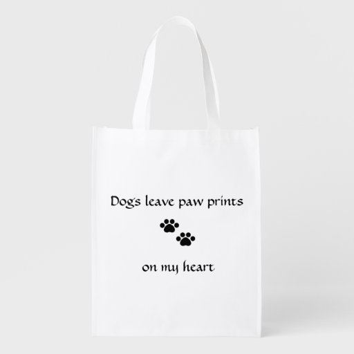 Dogs Leave Paw Prints Reusable Grocery Bags