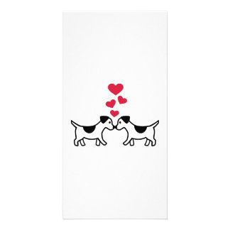 Dogs love hearts custom photo card