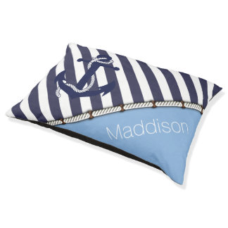 Dogs Name Nautical Anchor Chic Stripes Pattern Pet Bed