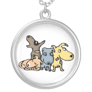 Dogs Round Pendant Necklace