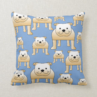 Dogs Pattern. Fawn Bulldogs on Blue. Cushion