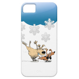 Dogs Playing And Ice Skating -Design On Iphones Barely There iPhone 5 Case