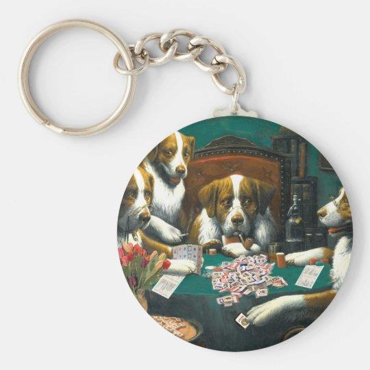 Dogs Playing Mah Jongg Keychain