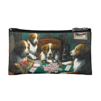 Dogs Playing Mah Jongg Zippered Money Bag Makeup Bag