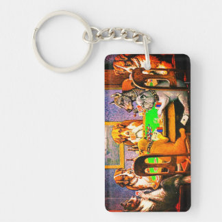 Dogs Playing Poker A Friend In Need Key Ring