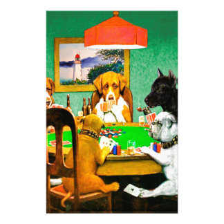 Dogs Playing Poker Customized Stationery
