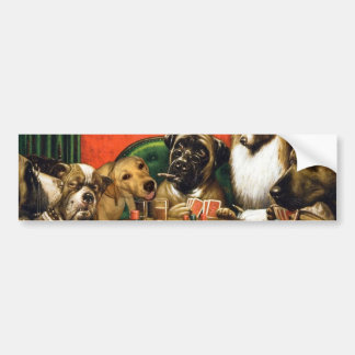 Dogs playing poker - funny dogs -dog art bumper sticker