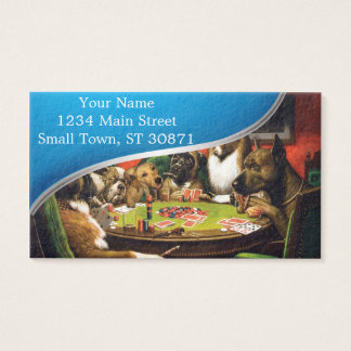 Dogs playing poker - funny dogs -dog art business card