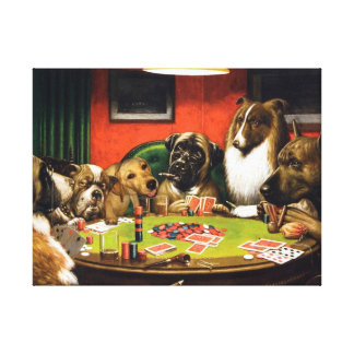 Dogs playing poker - funny dogs -dog art canvas print