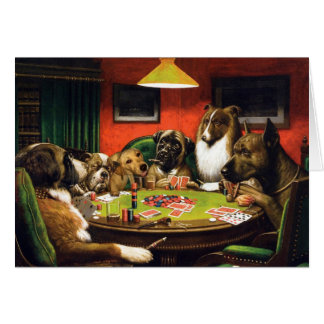 Dogs playing poker - funny dogs -dog art card