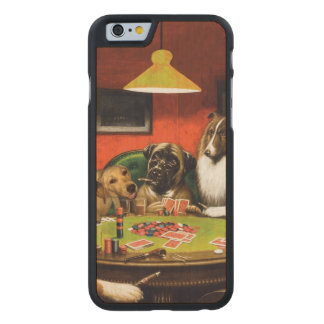 Dogs playing poker - funny dogs -dog art carved maple iPhone 6 case