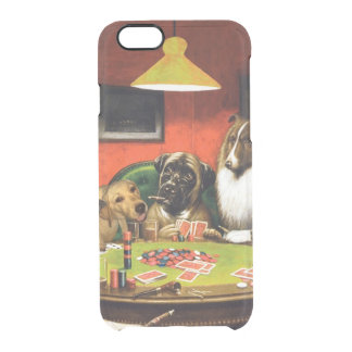 Dogs playing poker - funny dogs -dog art clear iPhone 6/6S case