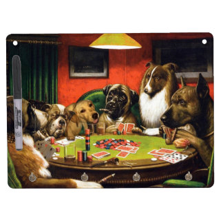 Dogs playing poker - funny dogs -dog art dry erase board with key ring holder