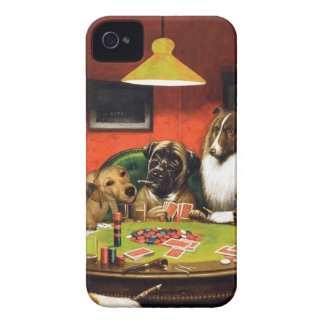 Dogs playing poker - funny dogs -dog art iPhone 4 cover
