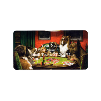 Dogs playing poker - funny dogs -dog art label