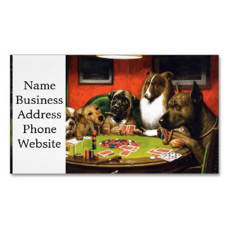 Dogs playing poker - funny dogs -dog art 	Magnetic business card