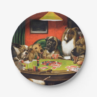 Dogs playing poker - funny dogs -dog art paper plate