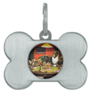 Dogs playing poker - funny dogs -dog art pet ID tag