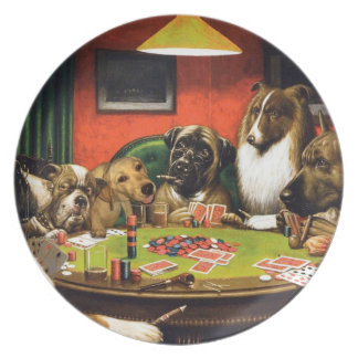 Dogs playing poker - funny dogs -dog art plate