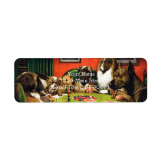 Dogs playing poker - funny dogs -dog art return address label