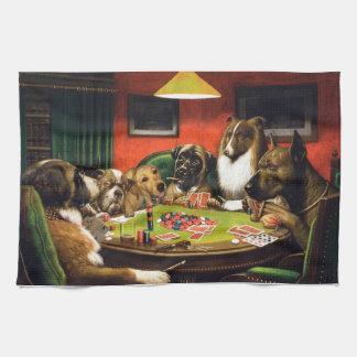 Dogs playing poker - funny dogs -dog art tea towel
