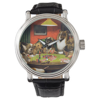 Dogs playing poker - funny dogs -dog art watch