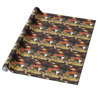Dogs playing poker - funny dogs -dog art wrapping paper
