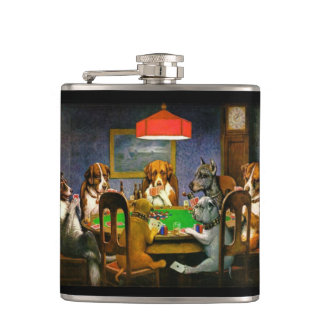 Dogs Playing Poker Vinyl Wrapped Flask