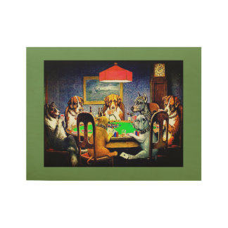 Dogs Playing Poker Wood Poster