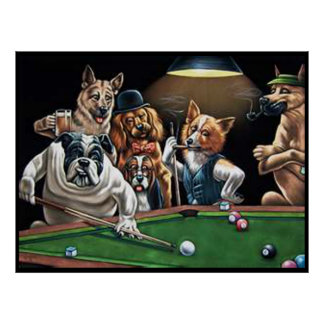 Dogs Playing Pool - Bulldog Up Posters