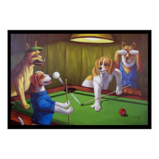Dogs Playing Pool - Off the Table Poster