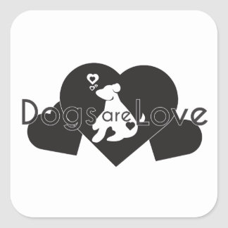 Dogs plows love square sticker