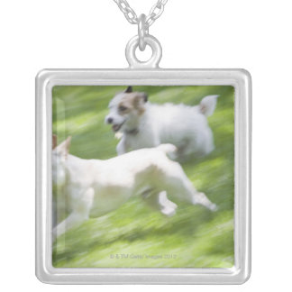 Dogs running in lawn square pendant necklace