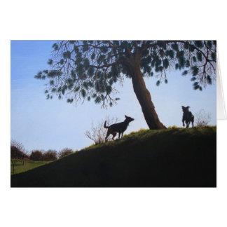 dogs scenic park landscape painting realist art card