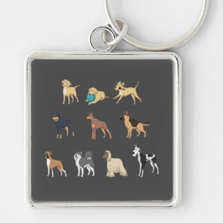 Dogs Silver-Colored Square Key Ring