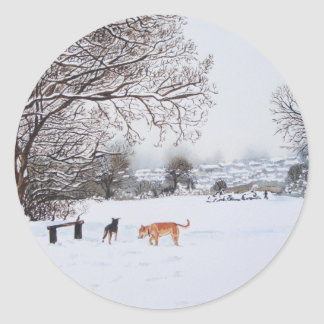 dogs snow scene landscape with trees painting round sticker