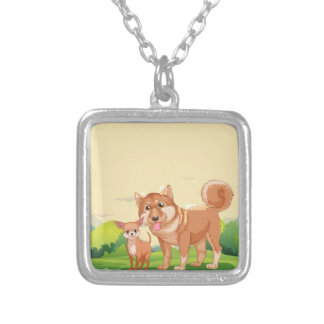 Dogs Square Pendant Necklace