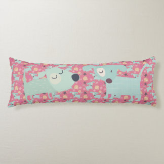 Dogs, Stars, and Flowers Body Cushion