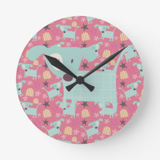 Dogs, Stars, and Flowers Clock