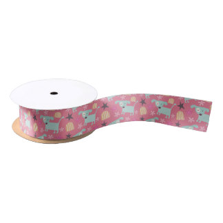 Dogs, Stars, and Flowers Satin Ribbon