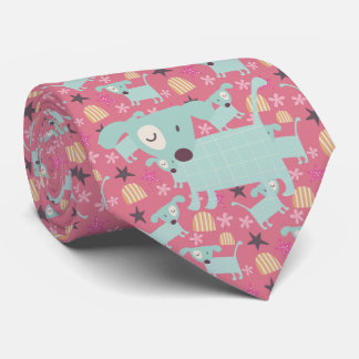 Dogs, Stars, and Flowers Tie