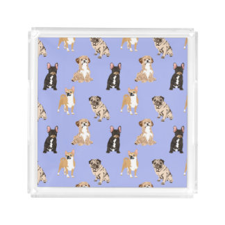 Dogs Vector Seamless Pattern Acrylic Tray