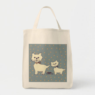 dogs vintage grocery tote bag