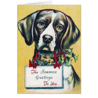 Dog's Vintage Holiday Greeting Card